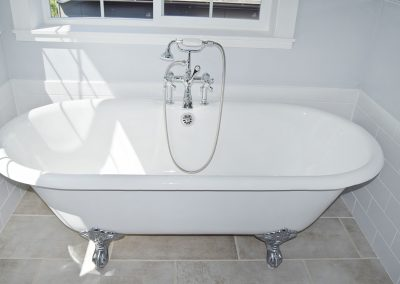 View of clawfoot tub in master