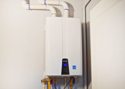 View of the modern tankless water-heating technology.