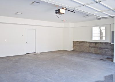 View of oversized two car garage.